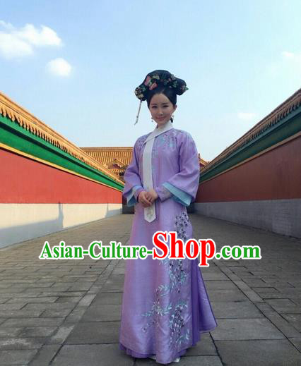 Traditional Ancient Chinese Imperial Princess Costume, Chinese Qing Dynasty Manchu Palace Lady Dress, Cosplay Chinese Manchu Minority Princess Embroidered Clothing for Women