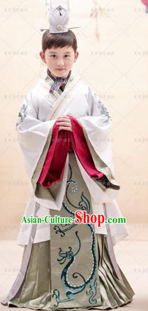 Traditional Ancient Chinese Han Dynasty Imperial Prince Robes, Imperial Emperor Boys Dragon Costumes for Kids