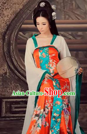 Traditional Ancient Chinese Imperial Consort Costume, Chinese Tang Dynasty Lady Dress, Cosplay Chinese Imperial Concubine Clothing Hanfu for Women