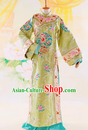 Traditional Ancient Chinese Imperial Consort Costume, Chinese Qing Dynasty Manchu Lady Dress, Cosplay Chinese Mandchous Imperial Concubine Green Embroidered Clothing for Women