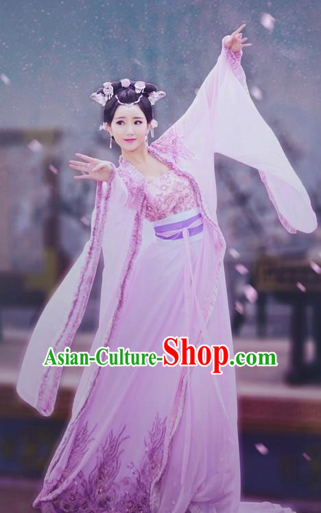 Traditional Ancient Chinese Imperial Emperess Costume, Chinese Han Dynasty Young Lady Dress, Cosplay Chinese Emperess Embroidered Clothing Pink Hanfu for Women