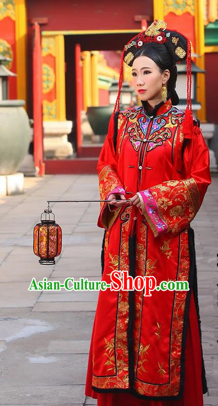 Traditional Ancient Chinese Imperial Consort Costume, Chinese Qing Dynasty Manchu Bride Wedding Red Dress, Cosplay Chinese Mandchous Imperial Concubine Embroidered Clothing for Women