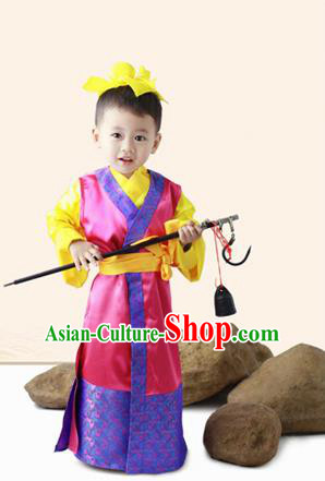 Traditional Ancient Chinese Classic Children Costume, Chinese Ancient Boy Dress, Cosplay Chinese Prince Cao Chong Clothing for Kids