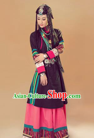 Traditional Chinese Mongol Nationality Dancing Costume, Mongols Female Folk Dance Ethnic Pleated Skirt, Chinese Mongolian Minority Nationality Costume for Women