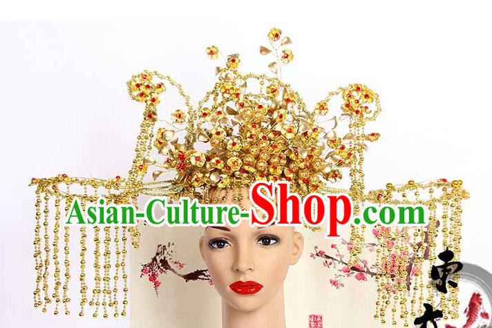 Chinese Wedding Jewelry Accessories, Traditional Xiuhe Suits Wedding Bride Flowers Headwear, Wedding Phoenix Crown, Ancient Chinese Phoenix Coronet for Women