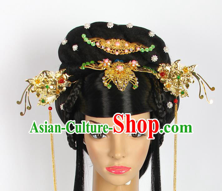Chinese Wedding Jewelry Accessories, Traditional Xiuhe Suits Wedding Bride Flowers Headwear, Wedding Phoenix Crown, Ancient Chinese Phoenix Coronet Complete Set for Women