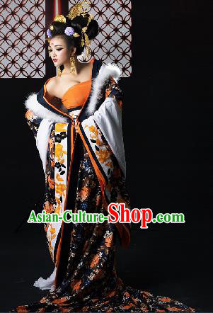 Traditional Ancient Chinese Imperial Consort Costume, Chinese Tang Dynasty Yang Lady Dress, Cosplay Chinese Imperial Concubine Embroidered Clothing for Women