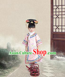 Traditional Ancient Chinese Children Costume, Chinese Qing Dynasty Manchu Little Lady Dress, Cosplay Chinese Manchu Minority Princess Embroidered Clothing for Kids