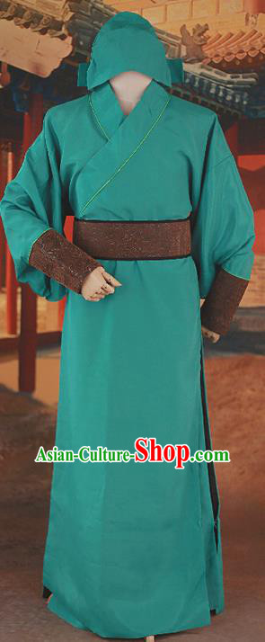 Traditional Ancient Chinese Male Costume, Chinese Han Dynasty Warrior Dress, Cosplay Chinese Green Hanfu Clothing for Men