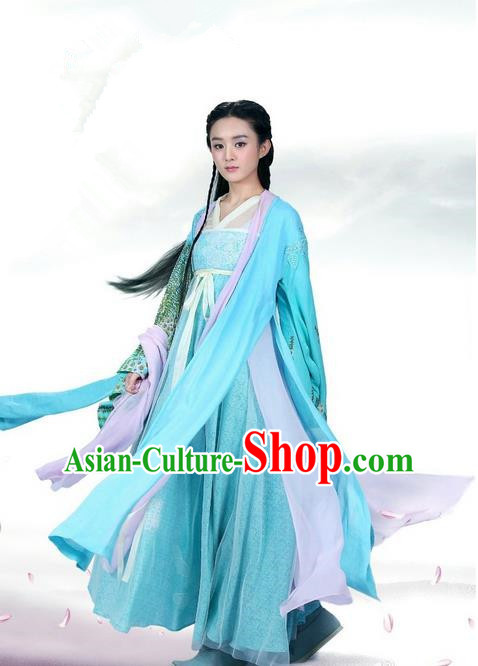 Traditional Ancient Chinese Swordswoman Costume, Chinese Han Dynasty Fairy Elegant Lace Dress, Cosplay Game Character Chinese Peri Princess Blue Clothing for Women