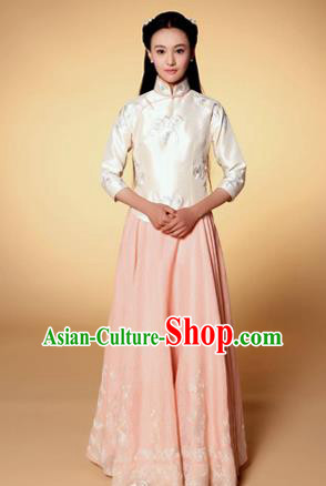 Traditional Ancient Chinese Costume, Chinese Late Qing Dynasty Young Lady Dress Beige Blouse, Republic of China Embroidered Clothing for Women