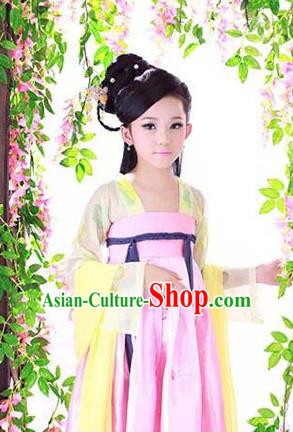 Traditional Ancient Chinese Imperial Consort Children Costume, Chinese Tang Dynasty Little Girl Dress, Cosplay Chinese Concubine Clothing Hanfu for Kids
