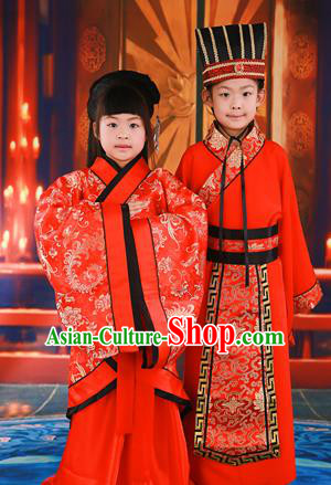 Traditional Ancient Chinese Imperial Emperess and Emperor Costume Complete Set, Chinese Tang Dynasty Emperess Wedding Red Dress, Chinese Emperess Emperor Embroidered Phoenix and Dragon Trailing Clothing for Kids