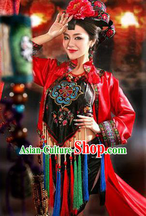 Traditional Ancient Chinese Imperial Emperess Costume, Chinese Tang Dynasty Sexy Bellyband Dress, Cosplay Chinese Concubine Embroidered Clothing for Women
