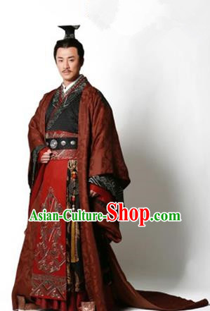 Traditional Ancient Chinese Imperial Emperor Costume, Chinese Han Dynasty Emperor Dress, Cosplay Chinese Majesty Embroidered Clothing Hanfu Complete Set for Men