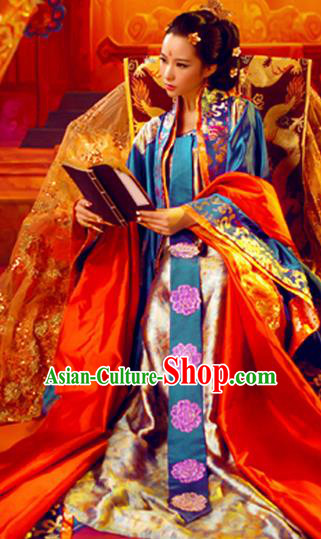 Traditional Ancient Chinese Imperial Emperess Costume, Chinese Tang Dynasty Palace Lady Red Dress, Cosplay Chinese Imperial Concubine Clothing Hanfu for Women