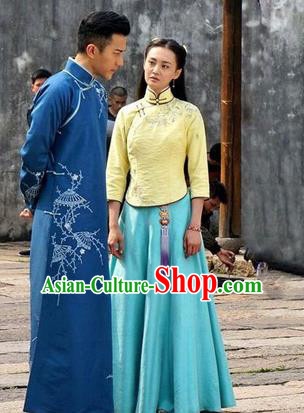 Traditional Ancient Chinese Costume Cheongsam Blouse, Chinese Late Qing Dynasty Female Student Dress, Republic of China Embroidered Clothing for Women