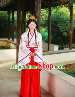 Traditional Ancient Chinese Imperial Emperess Cotton Costume, Chinese Han Dynasty Dress, Cosplay Chinese Peri Concubine Embroidered Hanfu Clothing for Women