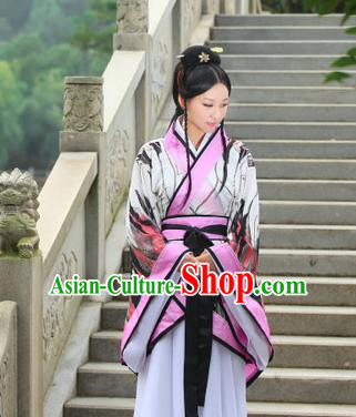 Traditional Ancient Chinese Imperial Emperess Costume, Chinese Han Dynasty Princess Young Lady Chiffon Dress, Cosplay Chinese Peri Concubine Embroidered Hanfu Clothing for Women