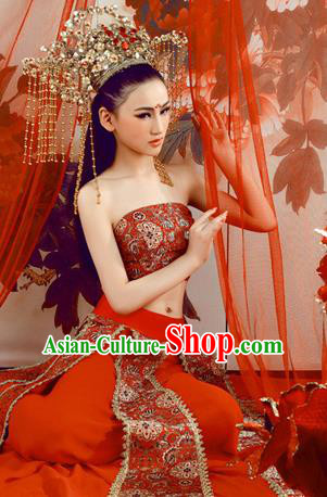 Traditional Ancient Chinese Flying Imperial Consort Costume, Chinese Tang Dynasty Dance Dress, Cosplay Chinese Fairy Imperial Concubine Red Embroidery Clothing Hanfu for Women