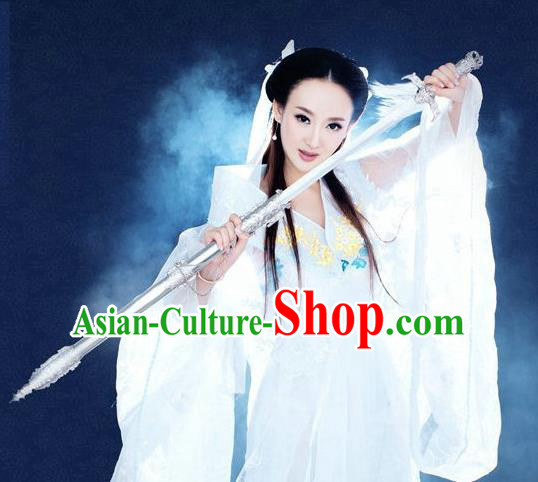 Traditional Ancient Chinese Swordswoman Costume, Chinese Han Dynasty Fairy Dress, Cosplay Game Character Chinese Peri Princess White Clothing for Women