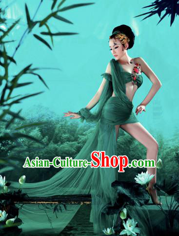 Traditional Ancient Chinese Dunhuang Flying Apsara Costume, Chinese Classic Dance Dress, Cosplay Fairy Tale Chinese Peri Imperial Princess Long Ribbon Clothing for Women