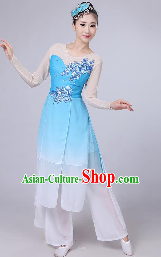 Traditional Chinese Yangge Fan Dancing Costume, Folk Dance Yangko Uniforms, Classic Umbrella Dance Elegant Dress Drum Dance Peony Blue Clothing for Women