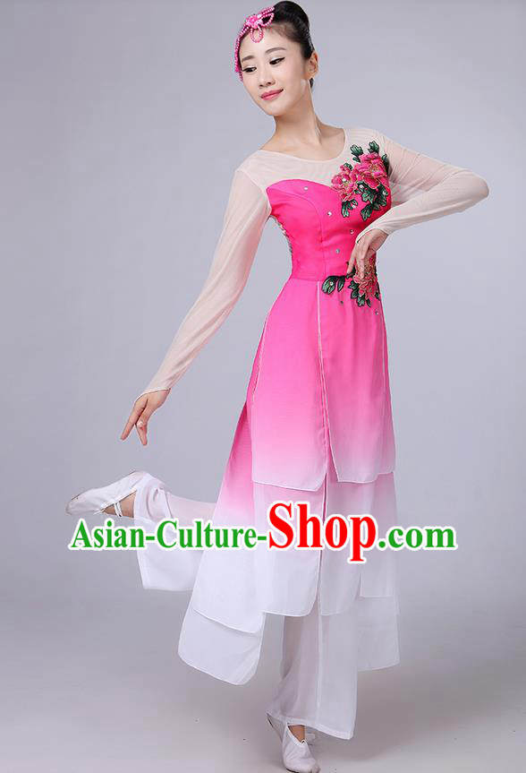 Traditional Chinese Yangge Fan Dancing Costume, Folk Dance Yangko Uniforms, Classic Umbrella Dance Elegant Dress Drum Dance Peony Pink Clothing for Women