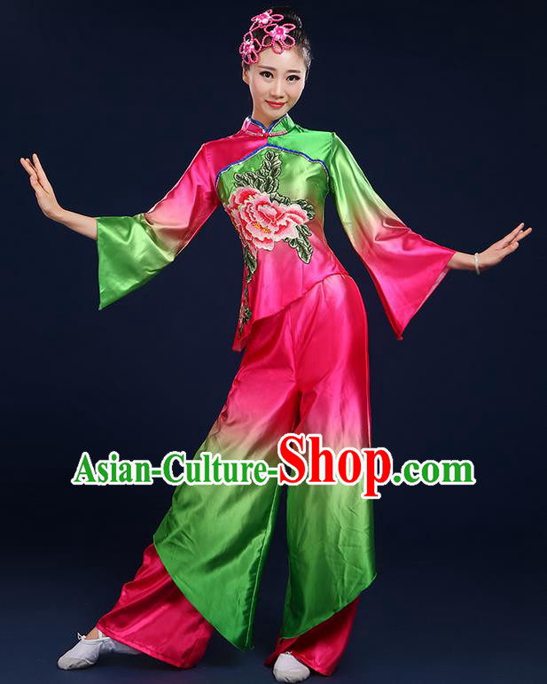 Traditional Chinese Yangge Fan Dancing Costume, Folk Dance Yangko Satin Mandarin Sleeve Peony Painting Blouse and Pants Uniforms, Classic Umbrella Dance Elegant Dress Drum Dance Clothing for Women