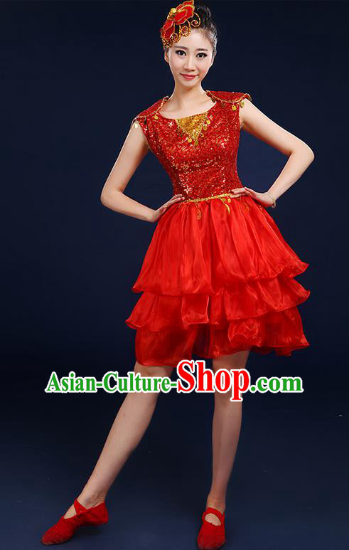 Traditional Chinese Modern Dancing Compere Costume, Women Opening Classic Chorus Singing Group Dance Paillette Bubble Uniforms, Modern Dance Classic Dance Red Short Dress for Women