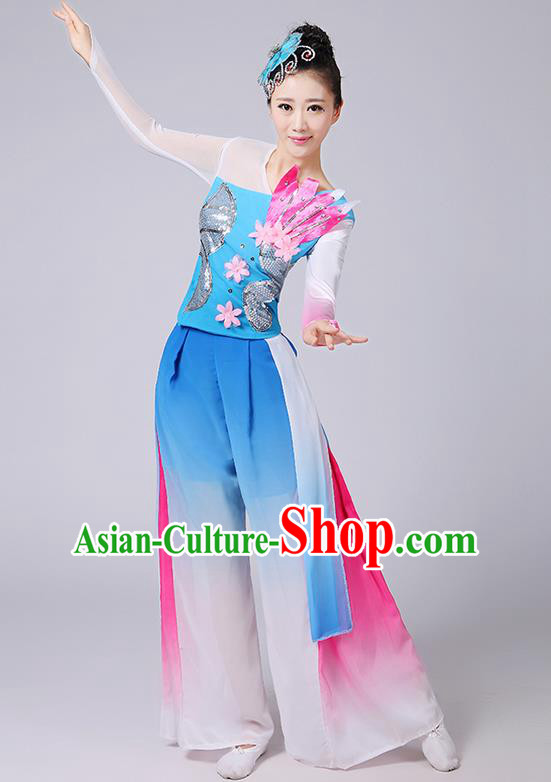 Traditional Chinese Yangge Fan Dancing Costume, Folk Dance Yangko Uniforms, Classic Umbrella Dance Elegant Dress Drum Dance Flowers Clothing for Women