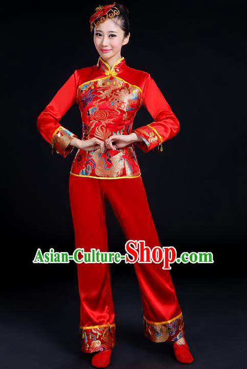 Traditional Chinese Yangge Fan Dancing Costume, Folk Dance Yangko Uniforms, Classic Umbrella Dance Elegant Dress Drum Dance Satin Red Clothing for Women