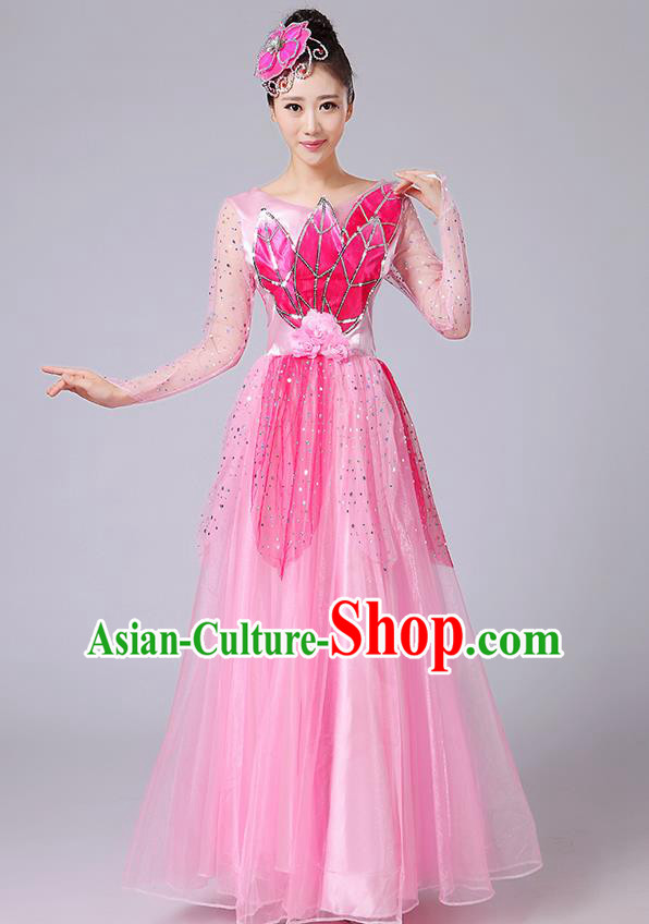 Traditional Chinese Style Modern Dancing Compere Costume, Women Opening Classic Chorus Singing Group Dance Uniforms, Modern Dance Classic Dance Pink Long Big Swing Dress for Women