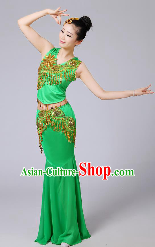 Traditional Chinese Dai Nationality Peacock Dancing Costume, Folk Dance Ethnic Paillette Tassel Fishtail Dress Princess Uniform, Chinese Minority Nationality Dancing Green Clothing for Women