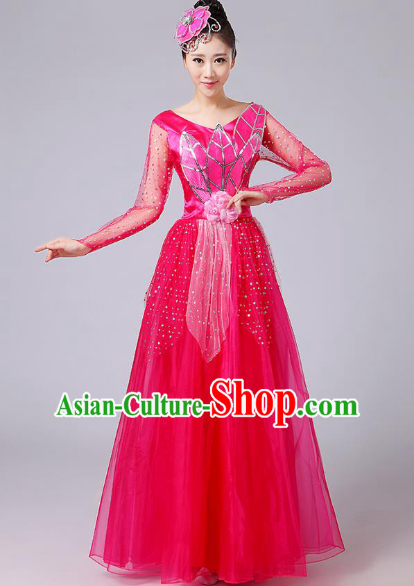 Traditional Chinese Style Modern Dancing Compere Costume, Women Opening Classic Chorus Singing Group Dance Uniforms, Modern Dance Classic Dance Rose Long Big Swing Dress for Women