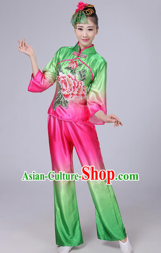 Traditional Chinese Yangge Fan Dancing Costume, Folk Dance Yangko Mandarin Collar Peony Painting Satin Blouse and Pants Uniforms, Classic Dance Elegant Dress Drum Dance Clothing for Women