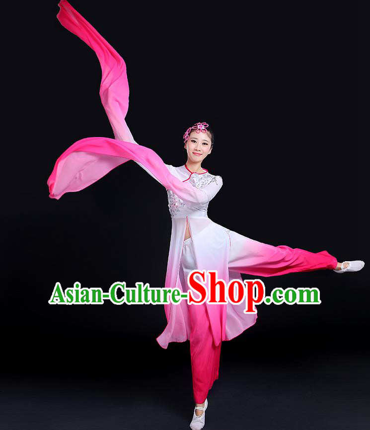 Traditional Chinese Yangge Fan Dancing Costume, Folk Dance Yangko Gradient Water Sleeve Paillette Uniforms, Classic Umbrella Dance Elegant Dress Drum Dance Clothing for Women