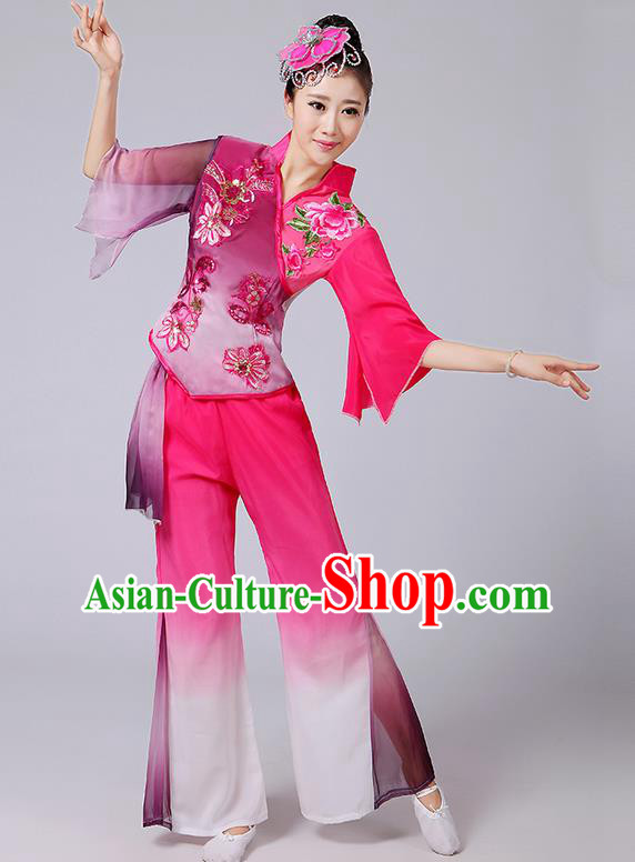 Traditional Chinese Yangge Fan Dancing Costume, Folk Dance Yangko Mandarin Sleeve Paillette Blouse and Pants Uniforms, Classic Dance Elegant Dress Drum Dance Pink Clothing for Women