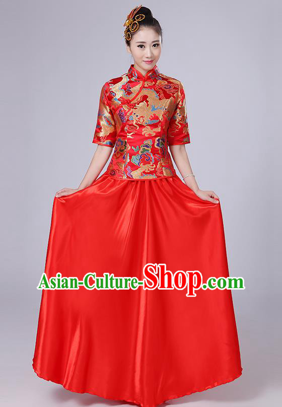 Traditional Chinese Style Modern Dancing Compere Costume, Women Opening Classic Chorus Singing Group Dance Embroidered Dragon Uniforms, Modern Dance Classic Dance Red Cheongsam Dress for Women