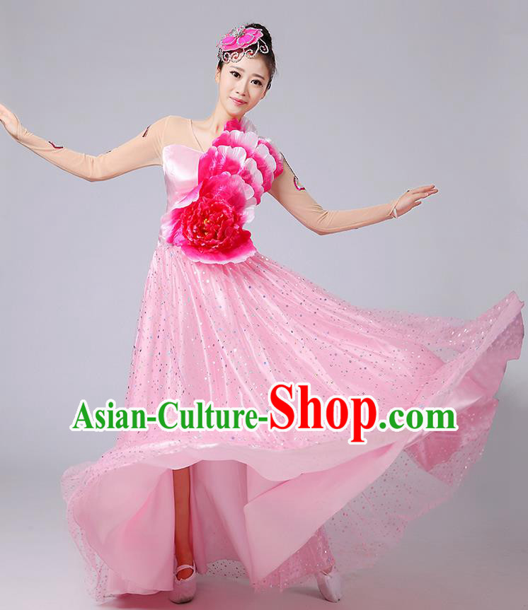 Traditional Chinese Modern Dancing Compere Costume, Women Opening Classic Dance Chorus Singing Group Bubble Peony Uniforms, Modern Dance Classic Dance Big Swing Pink Long Dress for Women