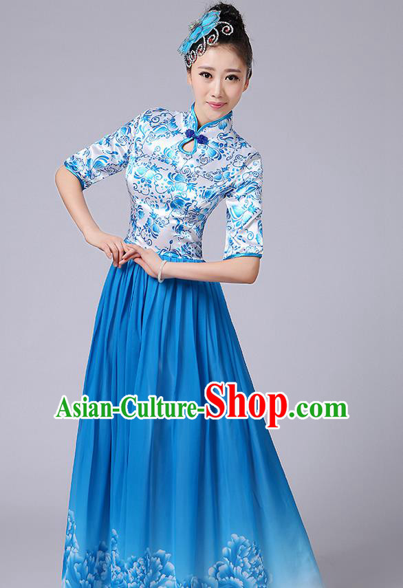 Traditional Chinese Style Modern Dancing Compere Costume, Women Opening Classic Chorus Singing Group Dance Mandarin Collar Peony Uniforms, Modern Dance Classic Dance Blue Cheongsam Dress for Women