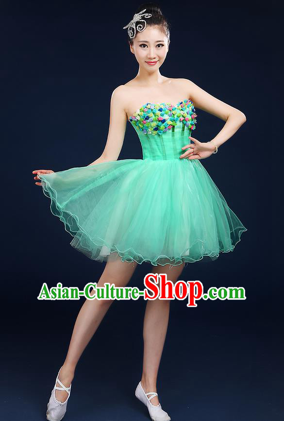 Traditional Chinese Modern Dancing Compere Costume, Women Opening Classic Dance Chorus Singing Group Bubble Tee Dress Uniforms, Modern Dance Classic Dance Big Swing Green Short Dress for Women