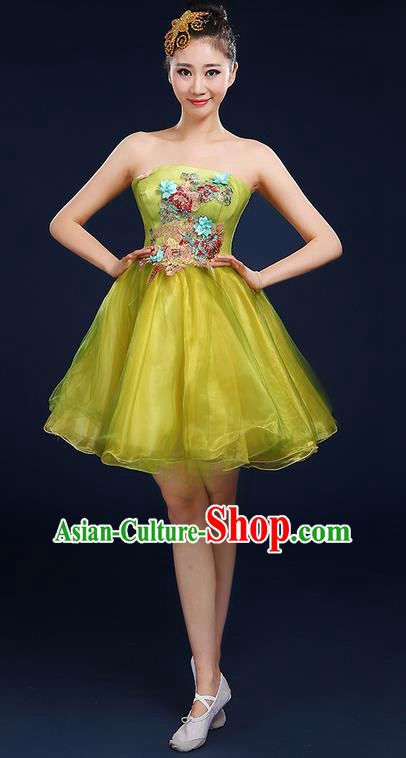 Traditional Chinese Modern Dancing Compere Costume, Women Opening Classic Dance Chorus Singing Group Bubble Tee Dress Uniforms, Modern Dance Classic Dance Big Swing Yellow Short Dress for Women