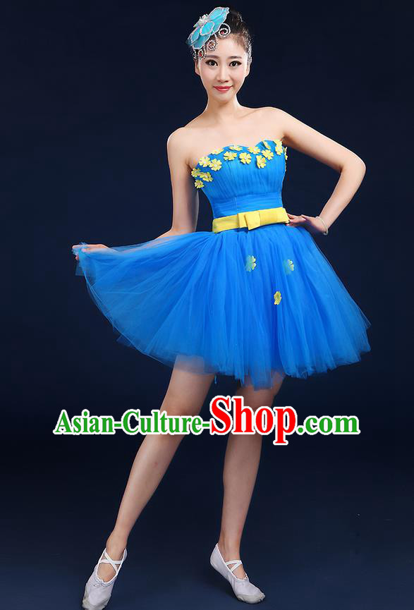 Traditional Chinese Modern Dancing Compere Costume, Women Opening Classic Dance Chorus Singing Group Bubble Tee Dress Uniforms, Modern Dance Classic Dance Big Swing Blue Short Dress for Women