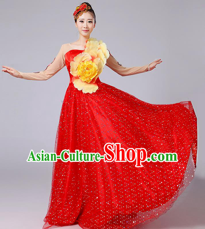 Traditional Chinese Modern Dancing Compere Costume, Women Opening Classic Dance Chorus Singing Group Bubble Peony Uniforms, Modern Dance Classic Dance Big Swing Red Long Dress for Women