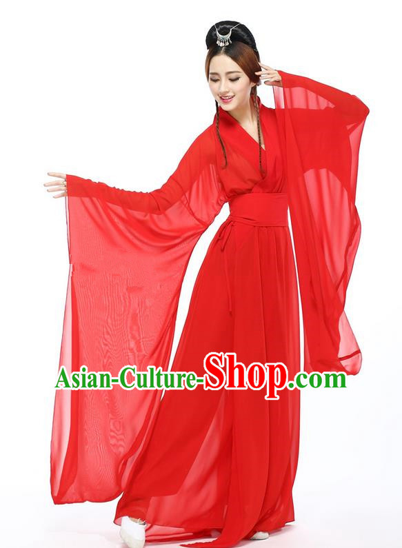 Traditional Chinese Ancient Yangge Fan Dancing Costume, Folk Dance Long Wide Sleeve Uniforms, Classic Flying Dance Elegant Fairy Dress Drum Palace Lady Dance Red Clothing for Women