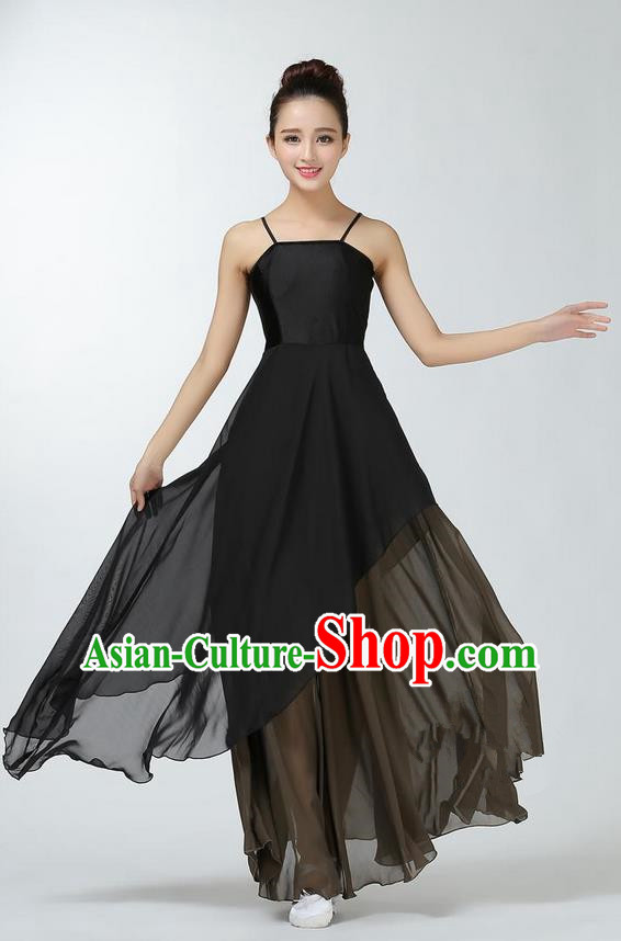 Traditional Modern Dancing Costume, Women Opening Classic Chorus Singing Group Dance Dress, Modern Dance Classic Ballet Dance Black Dress for Women