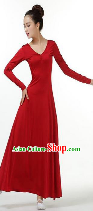 Traditional Modern Dancing Compere Costume, Women Opening Classic Chorus Singing Group Dance Dress, Modern Dance Classic Dance Wine Red Dress for Women