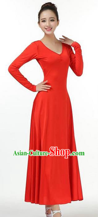 Traditional Modern Dancing Compere Costume, Women Opening Classic Chorus Singing Group Dance Dress, Modern Dance Classic Dance Red Dress for Women