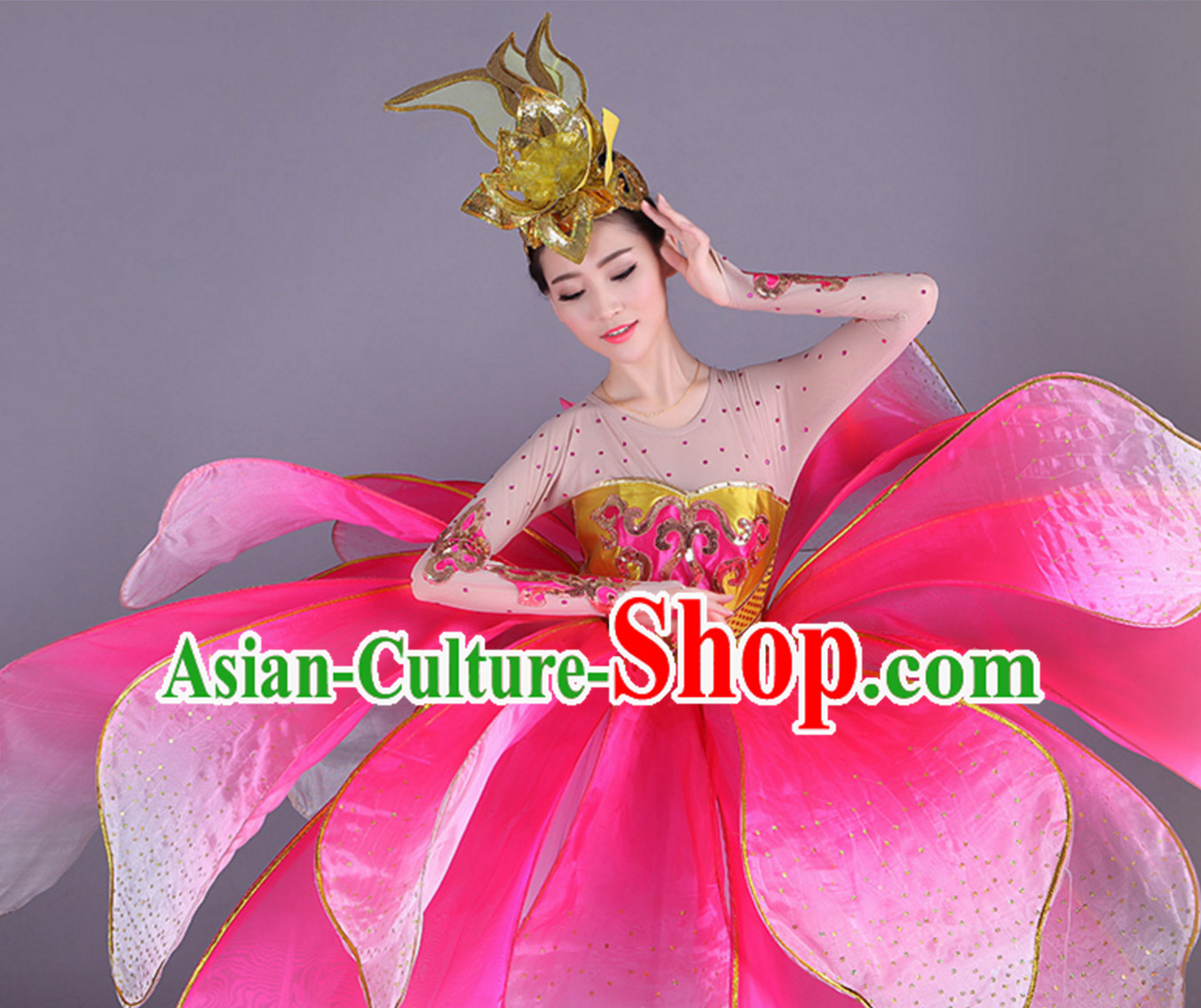 Chinese Professional Stage Performance Flower Dance Costumes and Headgear Complete Set for Women